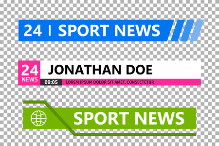 Terzo modello inferiore. Set di barra di notizie TV. Banner di notizie per lo streaming TV. Vettore Vettoriali