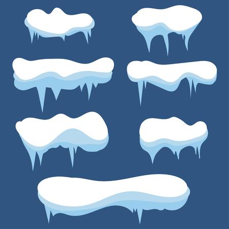 Set of snow icicles. Snow caps. Winter design.Snowdrifts. Vector Illustration