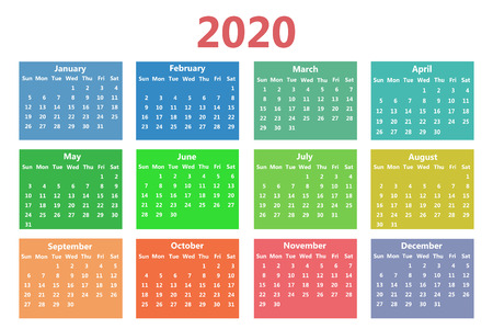 Calendar 2020 template. Week starts on Sunday. Simple style. Vector