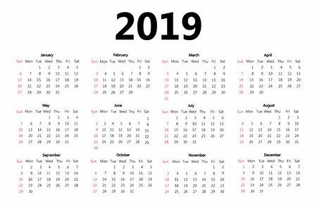 Calendar 2019 template. Week starts on Sunday. Simple style. Vector
