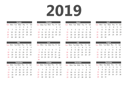 Calendar 2019 template. Week starts on Sunday. Simple style. Vector