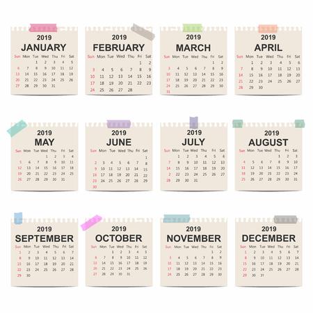 Calendar 2019. Monthly calendar template on old paper. Week starts on Sunday. Vector Illustration
