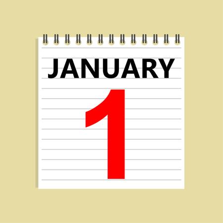 January 1. Calendar icon. Calendar sheet. New Year day. Vector Illustration