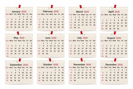 Calendar 2020. Monthly calendar template on old paper. Week starts on Sunday. Vector