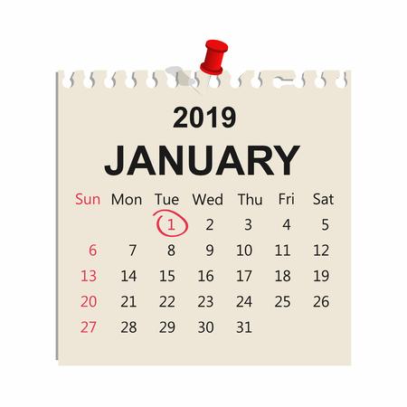 January 2019. Calendar sheet. January 1, New Year. Vector Illustration