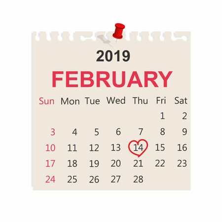 14th of February on note paper. Valentines Day. Vector