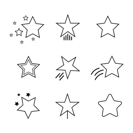 Star icon. Set of stars line icon. Decorative object.