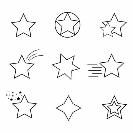 Star icon. Set of stars line icon. Decorative object. Vector Illustration