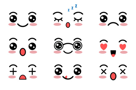 Kawaii cute faces. Japanese anime emoji. Expression anime character in kawaii style. Vector