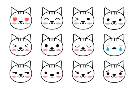 Set of cute cat. Kawaii style. Emoticons with cats faces. Vector Illustration