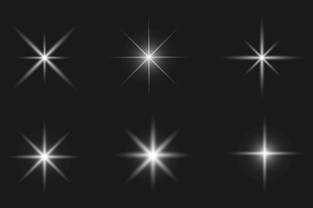 Set of glowing light effect. Bright stars, explosion. Transparent shining sun. Vector