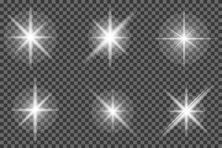 Set of glowing light effect. Bright stars, explosion. Transparent shining sun. Vector