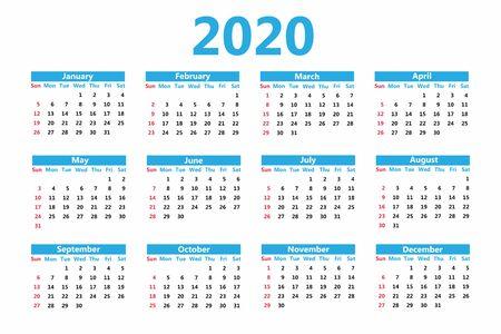 Calendar 2020. Week starts on Sunday. Planner for 12 months. Vector
