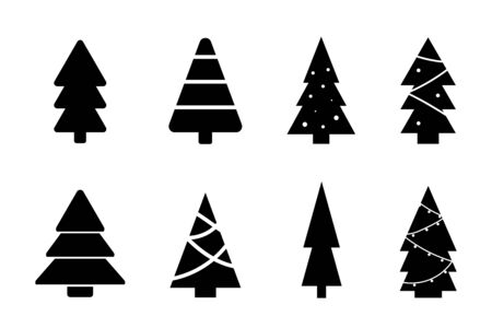 Collection of Christmass tree. Winter symbols. New year. Vector Illustration