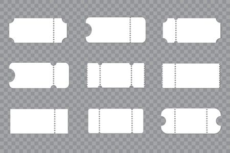 Set blank ticket template. Concert, movie or theater ticket template. Vector Illustration