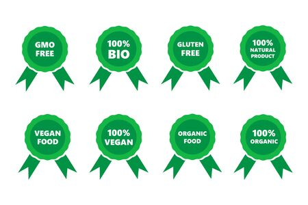 Set of vegan and organic food labels and badges. Natural product, healthy food labels and award stickers. Green organic badges for packaging design. Vector Illustration