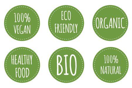 Set of vegan label. Organic, bio, eco, gmo symbol. Round and green tags for vegan and health food. Vector