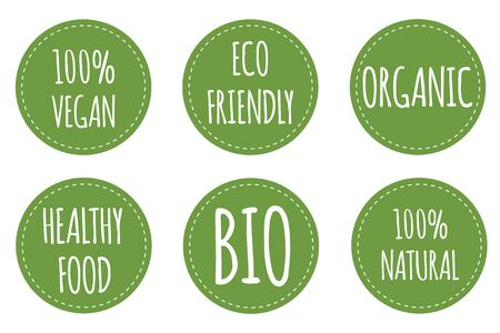 Set of vegan label. Organic, bio, eco, gmo symbol. Round and green tags for vegan and health food. Vector Illustration