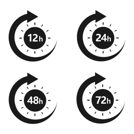 12, 24, 48 and 72 hours clock arrow. Work time effect or delivery service time. Vector Illustration