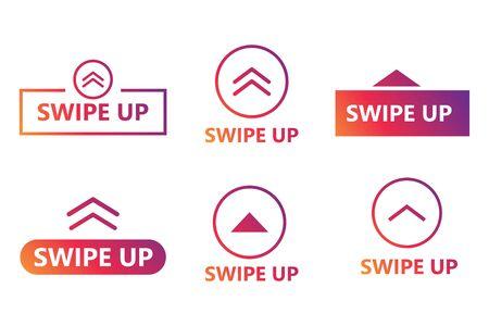 Swipe up. Set of buttons for social medias.  Vector