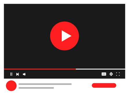 Template video frame. Video player for web and mobile apps. Video content mockup. Vector