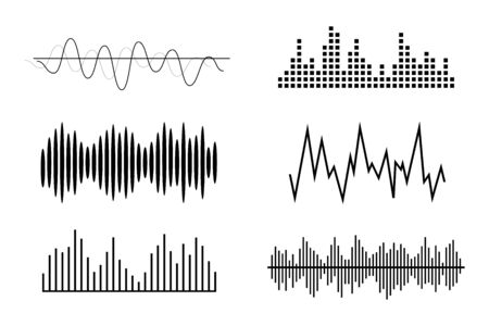 Sound waves, volume diagrams. Noise level charts, radio waves.