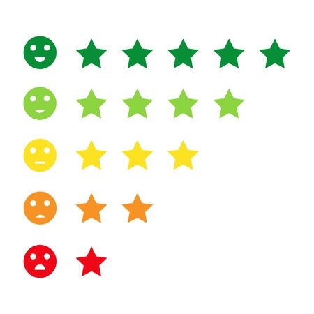 Rating customer satisfaction meter. Emotions art design from red to green. Customers feedback in the form of stars and emotions. Vector Ilustracje wektorowe
