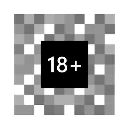 Censored pixel effect. Censor blur effect for sensitive content. Pixel censored sign for 18 plus content in black and white colors. Vector