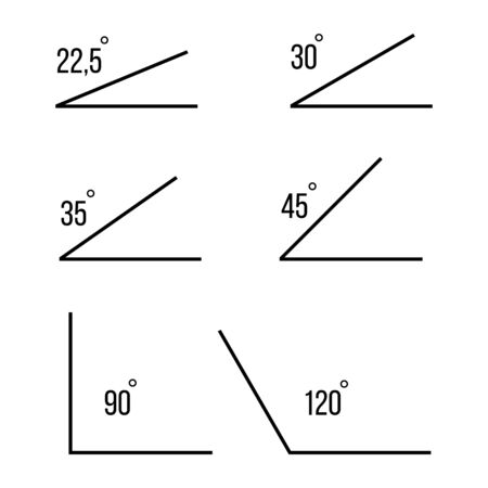 Angles. 30, 35, 45,90,120 degrees angles. Angles icons of white background. Vector Illustration