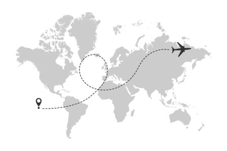World map with airplane line path. Airplane flight route with start point and dash line trace. Vector Vectores