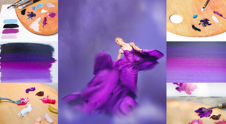 fluttering: Young beauty woman in fluttering lilac dress