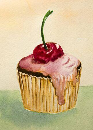 おいしいケーキ ピンク クリームとチェリーを手作り 写真素材