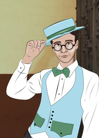Fashionable handsome guy wearing in bow tie, white shirt and jacket learning on the wall and touching his hat. - Illustration, clip art