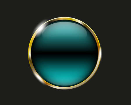 shiny button: turquoise shiny button with metallic elements, vector design for website
