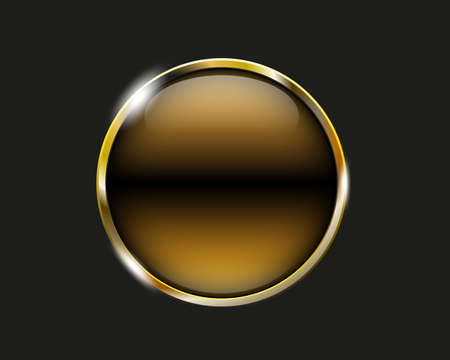 shiny button: banana shiny button with metallic elements, vector design for website
