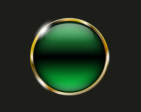 green shiny button with metallic elements, vector design for website