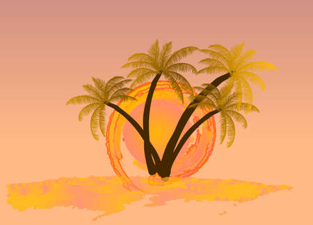 palm tree vector: Watercolor sun with palm tree. Vector