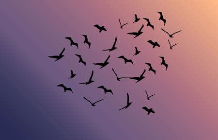 Vector zwerm vliegende vogels in de richting van felle zon Stockfoto - 64237424