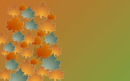 tridimensional: Autumn background with paper cut maple, Vector illustration. Illustration