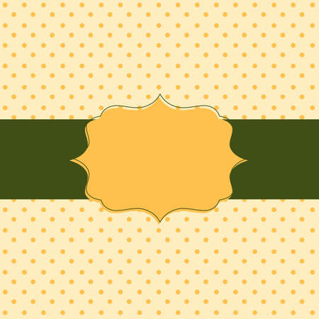 Frame on the paper background with polka dots. Vector illustration.