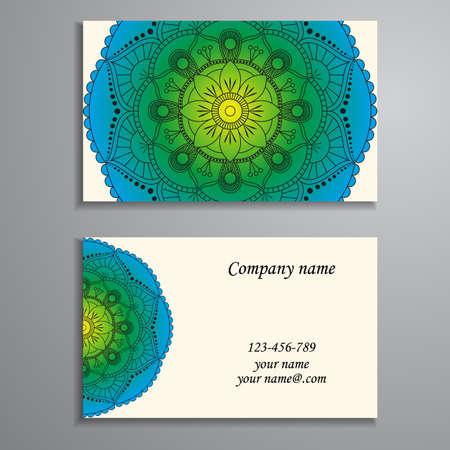 Business Card. Vintage decorative elements. Ornamental floral business cards, oriental pattern, illustration. Islam, Arabic, Indian, turkish, pakistan, chinese, ottoman motifs.