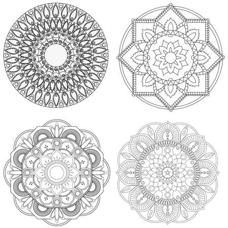 Set of mandalas for coloring book. Decorative round ornaments. Anti-stress therapy patterns. Weave design elements. Yoga logos, backgrounds for meditation poster. Flower shape. Oriental vector