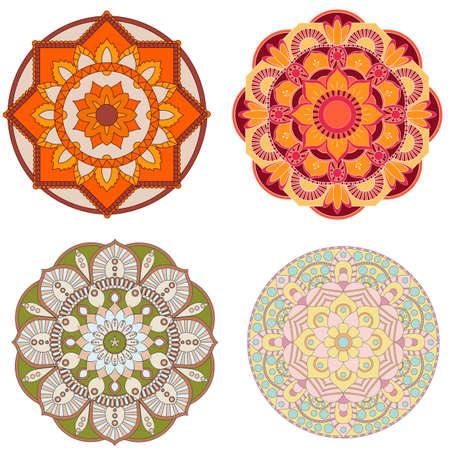 Set of Decorative colorful mandalas.Anti-stress therapy patterns. Weave design elements. Yoga logos, backgrounds for meditation poster. Flower shape. Oriental flourish vector Illustration