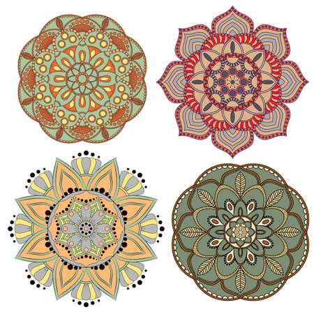 Set of Decorative colorful mandalas ornaments. Anti-stress therapy patterns. Weave design elements. Yoga logos, backgrounds for meditation poster. Flower shape. Oriental flourish vector Illustration