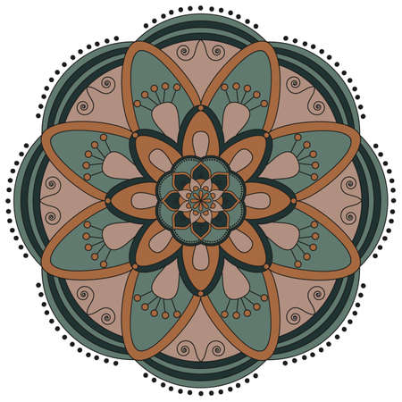 weave: Oriental pattern. Traditional round coloring ornament. Mandala. Adult coloring. Round Ornament Pattern. Geometric circle element made in vector.