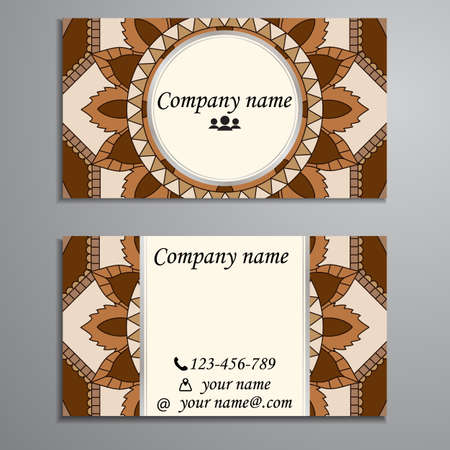 Visiting card and business card set with mandala design element logo. Abstract oriental Layout. Front page and back page Illustration