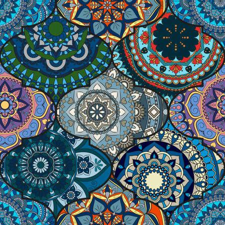 다채로운 타일 boho 원활한 패턴입니다. 만다라 배경입니다. 추상 꽃 장식입니다. 꽃 벽지, 가구, 섬유 인쇄, 히피 패브릭. 로맨틱 장식에서 직조 디자인  일러스트