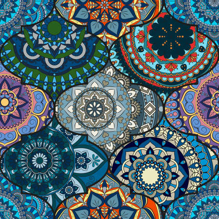 Colorful tiles boho seamless pattern. Mandala background. Abstract flower ornament. Floral wallpaper, furniture, textile print, hippie fabric. Romantic decoration from weave design elements. Иллюстрация