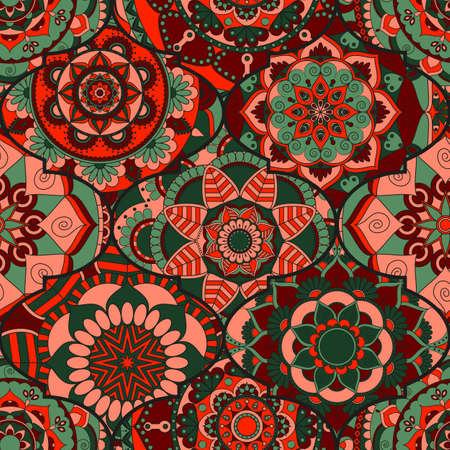 Colorful tiles boho seamless pattern. Mandala background. Abstract flower ornament. Floral wallpaper, furniture, textile print, hippie fabric. Romantic decoration from weave design elements. Illustration