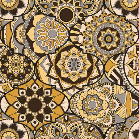 Patchwork pattern. Vintage decorative elements. Hand drawn background. Islam, Arabic, Indian, ottoman motifs. Perfect for printing on fabric or paper. Illustration